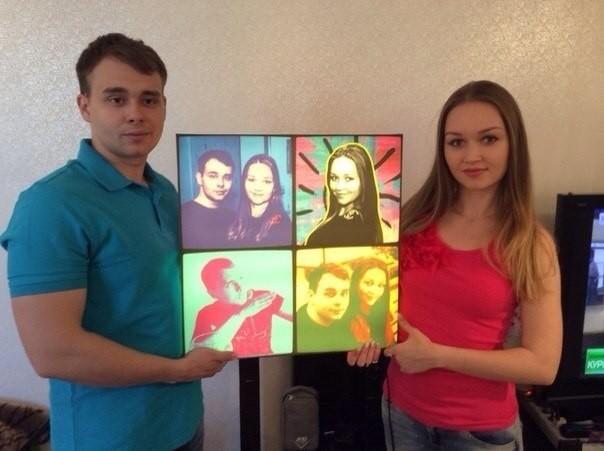 Поп-арт портрет на 3D светильнике со сменными постерами