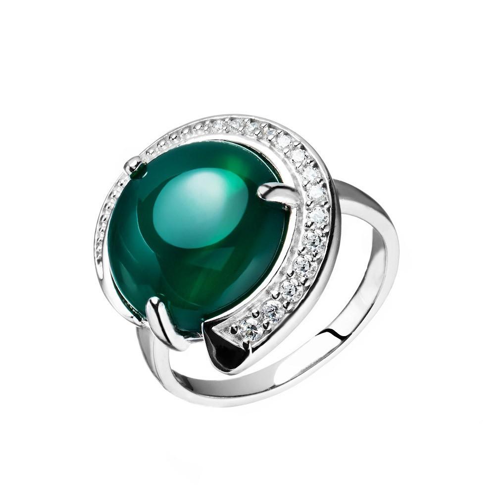 Серебряное кольцо с зеленым ониксом и фианитами