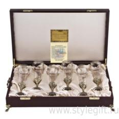 Набор из шести бокалов для шампанского Богемия Флорис