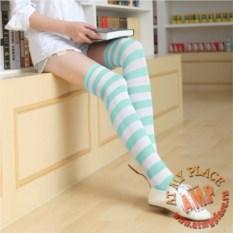Бело-бирюзовые полосатые гольфы Miku Hatsune Style