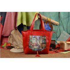 Красная сумка-шопер Пейзаж Монмартра Elole Design