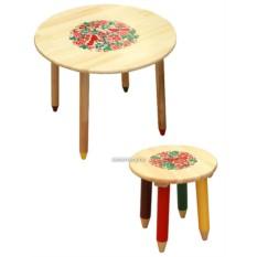 Набор детской деревянной мебели с Хохломской росписью