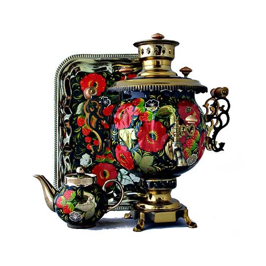 Набор «Маки»: самовар, поднос, чайник
