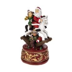 Новогоднее украшение Дед Мороз с малышом на коне-качалке