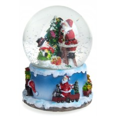 Новогодний снежный шар Шар- Дед Мороз со снеговиком у елки