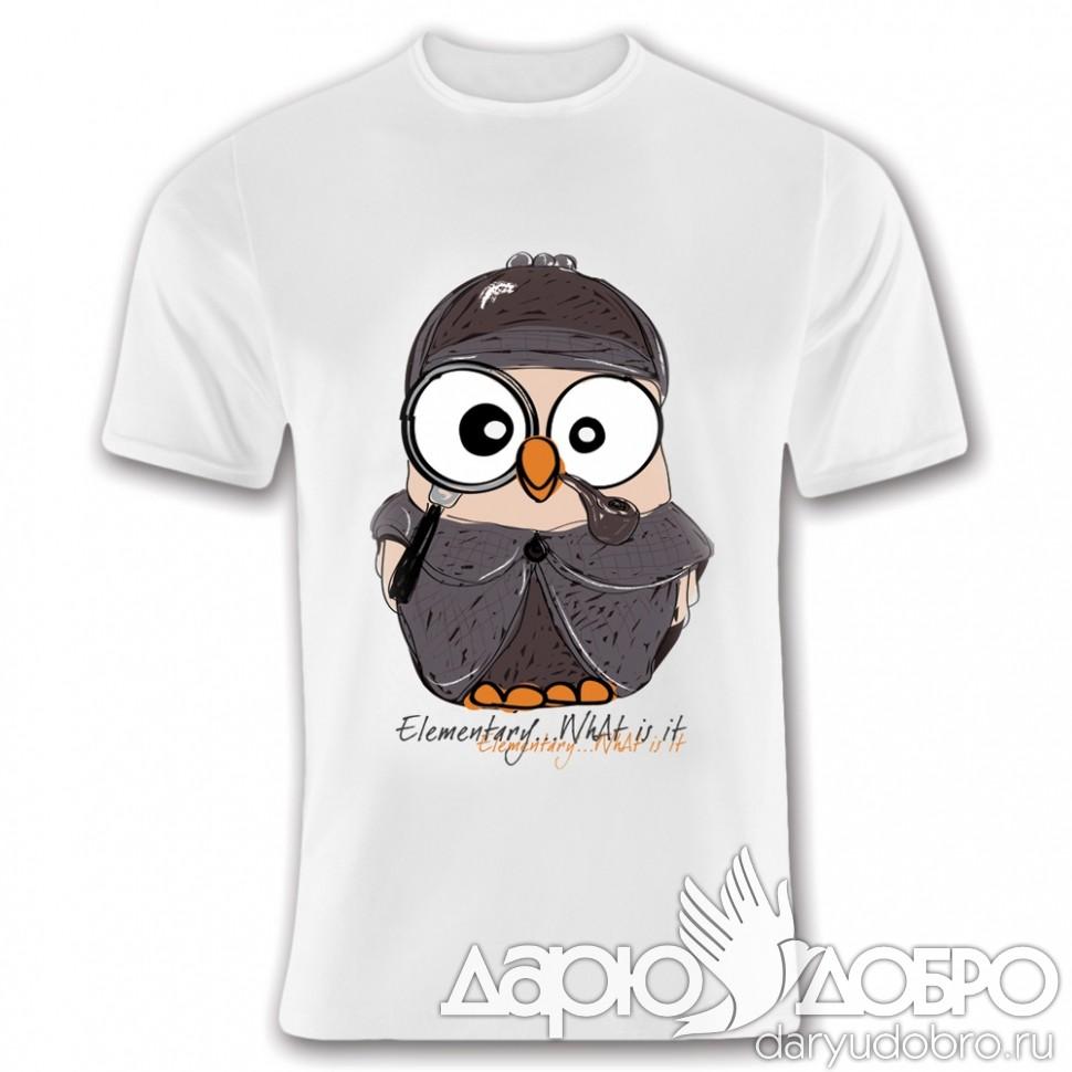 Мужская футболка с совой Шерлок Goofi