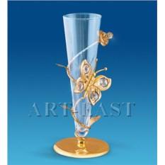 Позолоченная ваза с бабочкой с кристаллами Swarovski