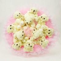 Букет из игрушек Мишки Love розовые