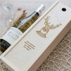 Коробка для вина с гравировкой Рождественский олень