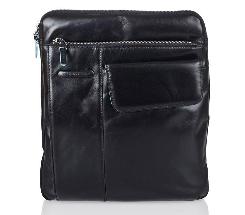 Черная кожаная сумка с ремнем Piquadro Blue Square