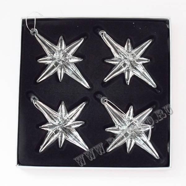 Набор стеклянных новогодних украшений Звезда