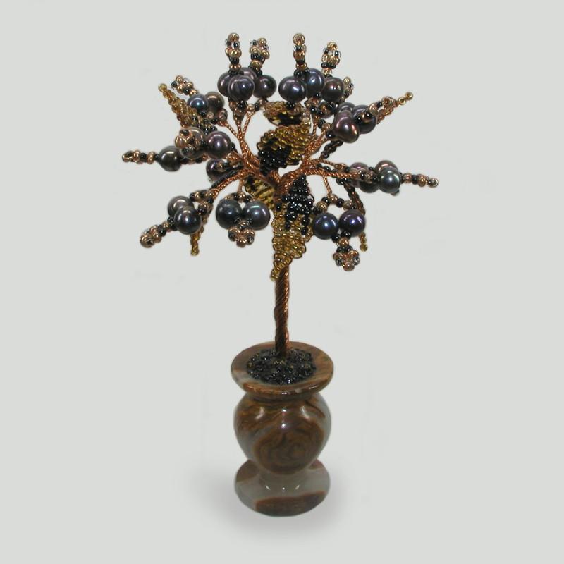 Миниатюрное дерево из черного жемчуга Бастет в вазочке из оникса