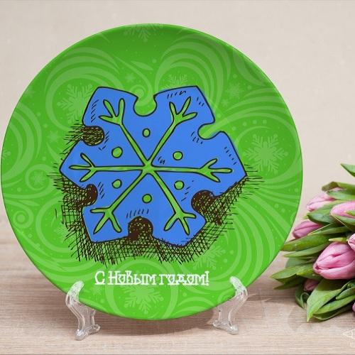 Именная тарелка Снежинка