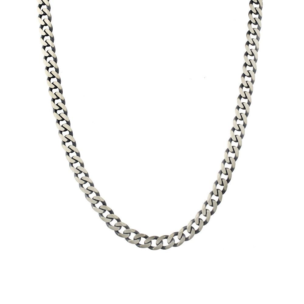 Черненая «Панцирная» цепь из серебра покрытая палладием