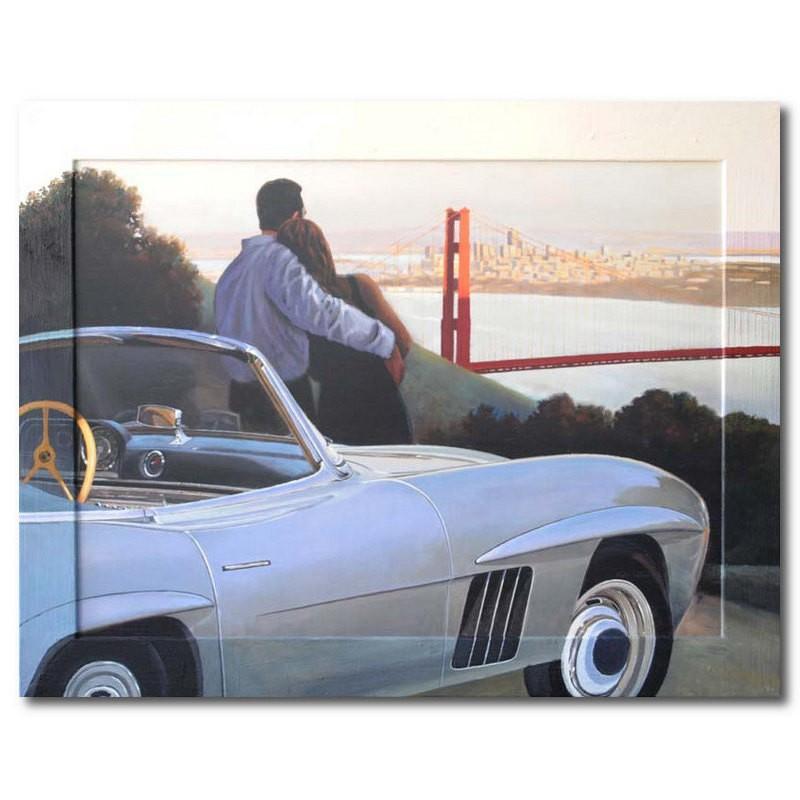 Репродукция с подрисовкой на раме Пара у автомобиля