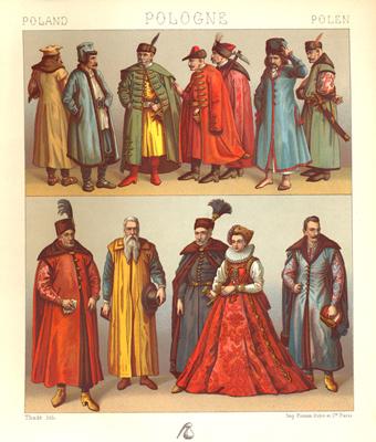 Польский костюм. Гравюра.