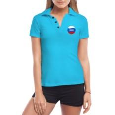 Голубая женская футболка поло Вера