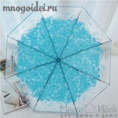 Зонт прозрачный Голубые лепестки счастья