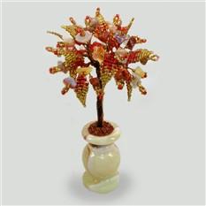 Дерево из камней сардоникса в вазочке из оникса