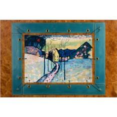 Картина из кожи Зимний пейзаж В.Кандинский.