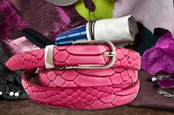 Розовый ремень коллеции G.Ferretti из натуральной кожи