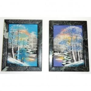 Картина Зима из каменной крошки и в каменной раме