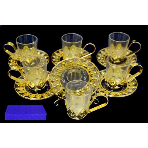 Чайный набор 12 предметов Позолоченный металл