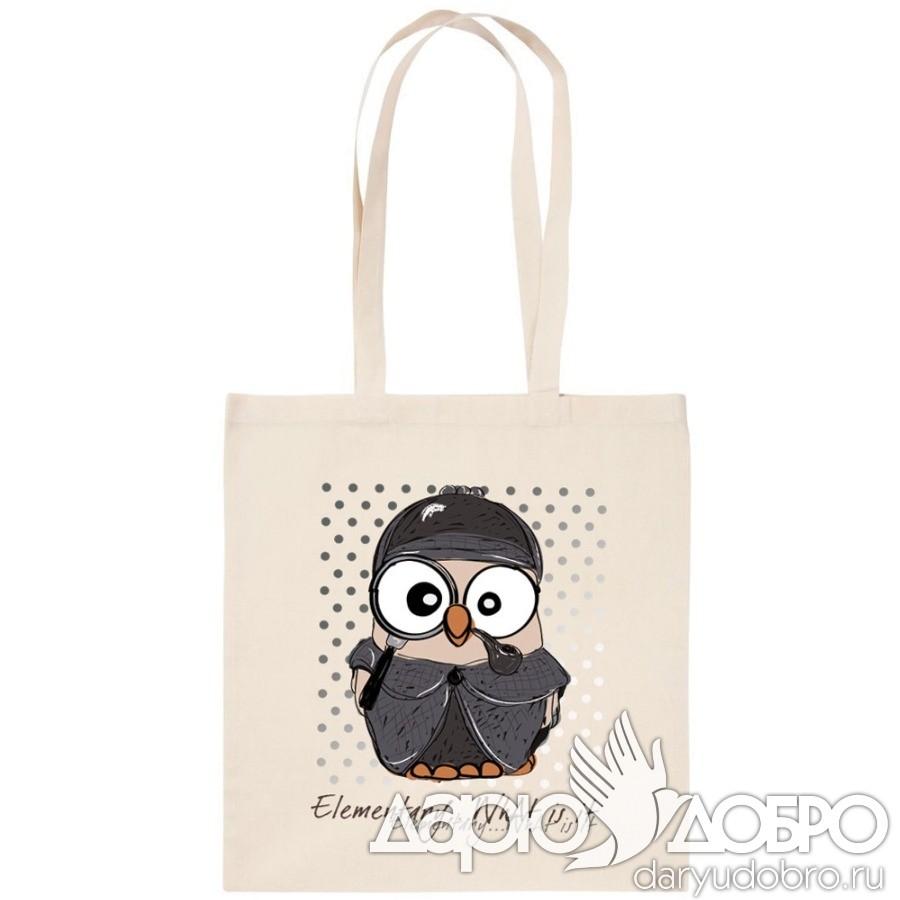 ЭКО-сумка с совой Шерлок