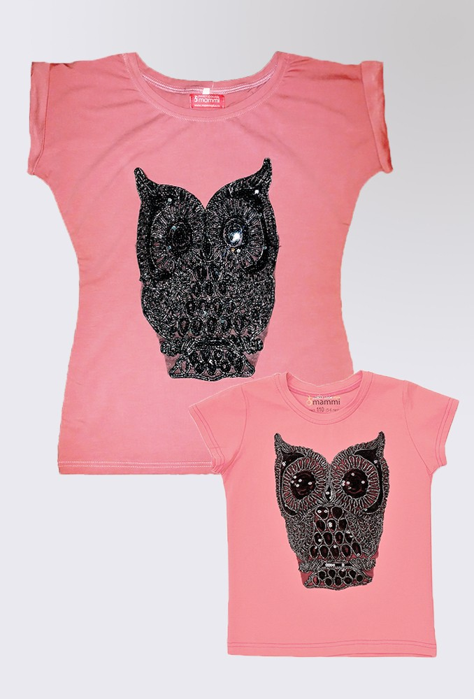 Комплект розовых футболок Sova для мамы и дочки