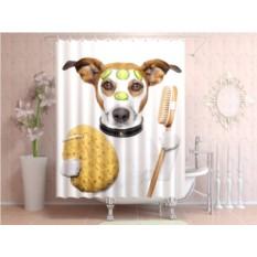 Штора для ванной Собака в ванной