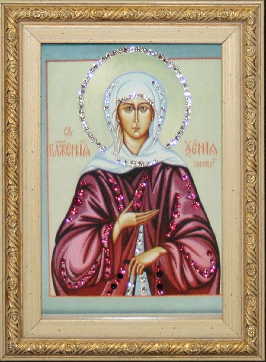 Икона с кристаллами Сваровски Ксения Петербургская