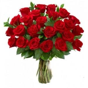 Букет из 25 красных роз, 60 см