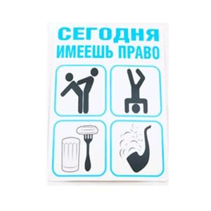 Наклейка «Сегодня имеешь право»