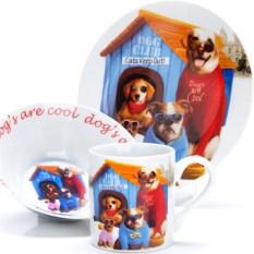 Набор детской посуды 3 предмета Собачки в будке