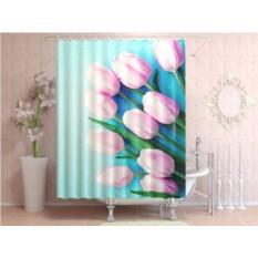 Штора для ванной Свежие тюльпаны