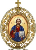 Серебряная настольная икона с финифтьевым образом Господь Вседержитель