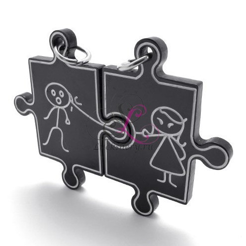 Парные кулоны в виде пазлов Мальчик и девочка, черные