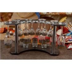 Мини-бар (12 бокалов, 6 рюмок, золотая гравировка)