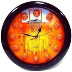 Часы настенные БАСКЕТБОЛ в черной оправе