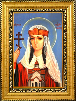 Тамара Великая Святая, царица Грузии. Икона на холсте.