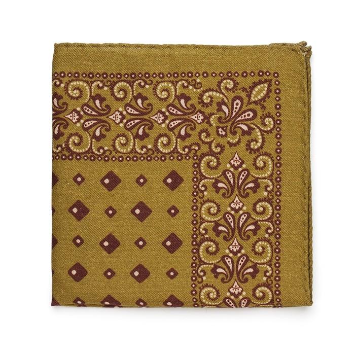 Платок Roda из шерсти, с цветочным узором, оливковый