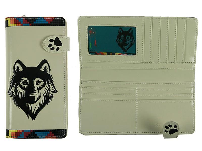 Белое портмоне с принтом Волк