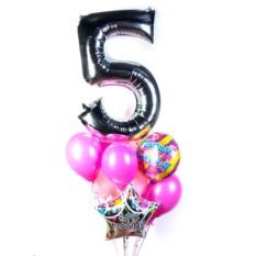 Букет из шаров на День рождения с серебряной цифрой