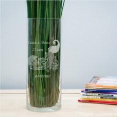 Именная ваза с гравировкой Павлин