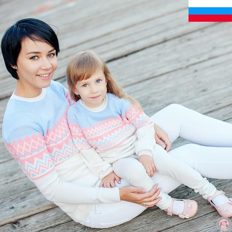 Парные джемпера для мамы и дочки