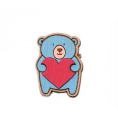 Значок WafWaf Мишка с сердцем
