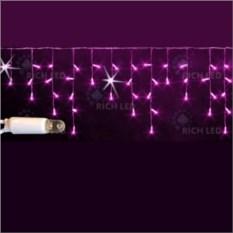 Мерцающая светодиодная бахрома розового цвета 3х0,5 м