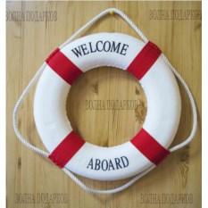 Красный декоративный спасательный круг диаметром 35 см