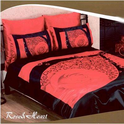 Постельное белье Rose and heart красный