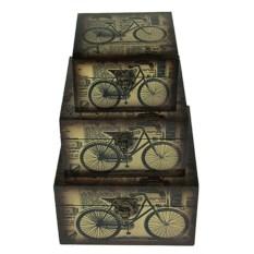 Набор из 3-х сундучков с изображением велосипеда